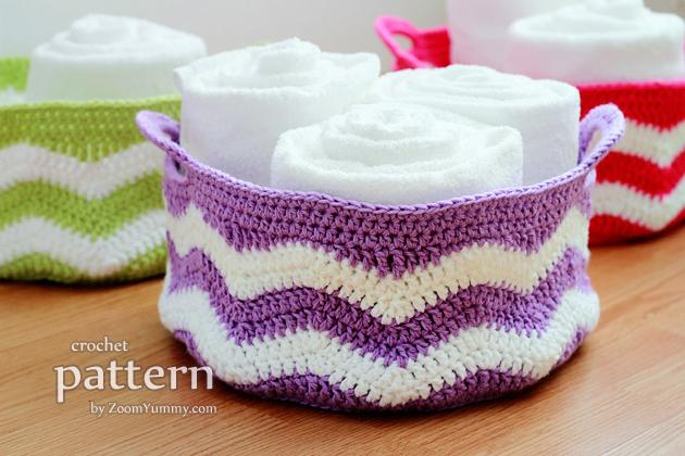 crochet ripple baskets pattern