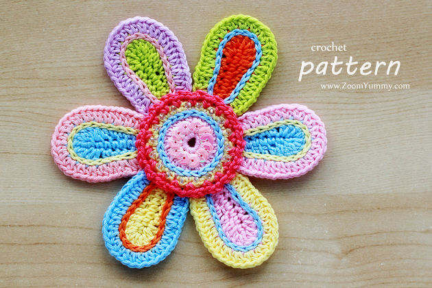 colorful crochet flower pattern