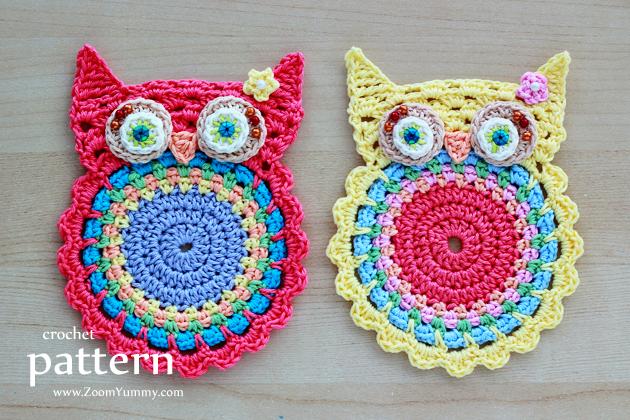 Amigurumi Pattern Free Owl : New pattern u crochet owl coasters appliques « crochet « zoom