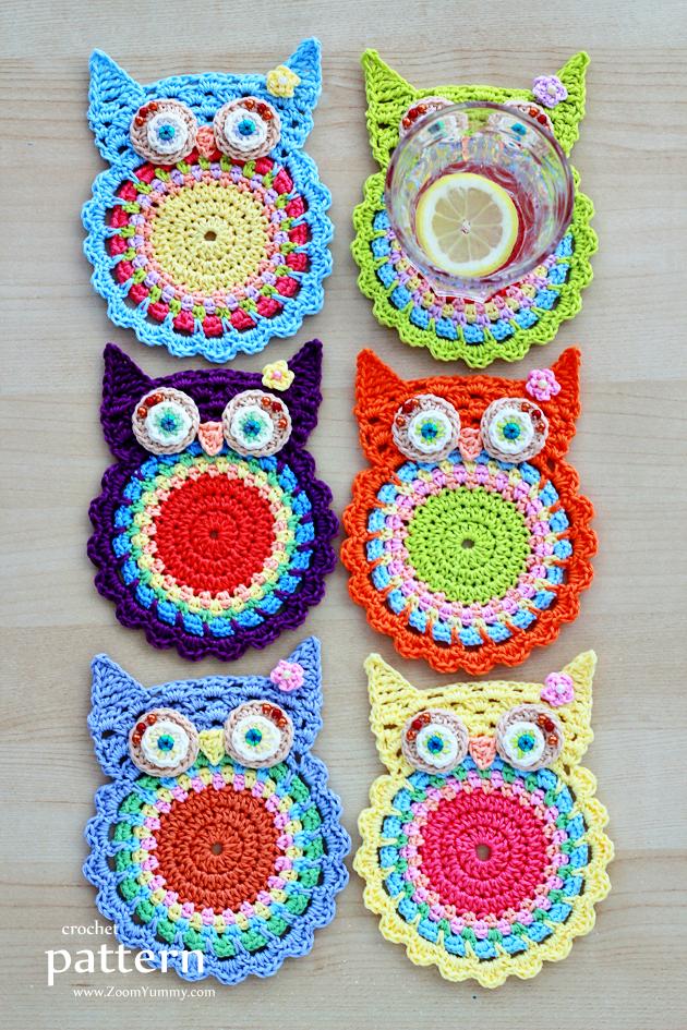 Crochet Owl Coasters (Appliques) ? Crochet ? Zoom Yummy - Crochet ...