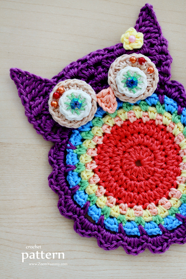 66074da73 New Pattern – Crochet Owl Coasters (Appliques) « Crochet « Zoom ...