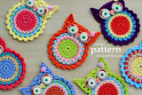 Crochet Owl Coasters Pattern