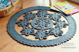 crochet flower rug pattern, pdf pattern, pdf, tutorial, pictures, step by step, images