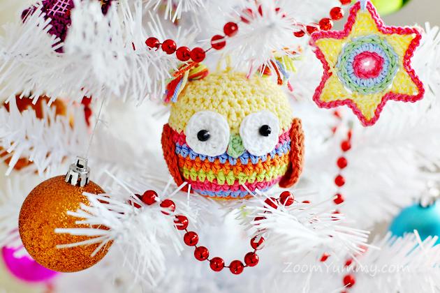 crochet Christmas tree ornaments - owl
