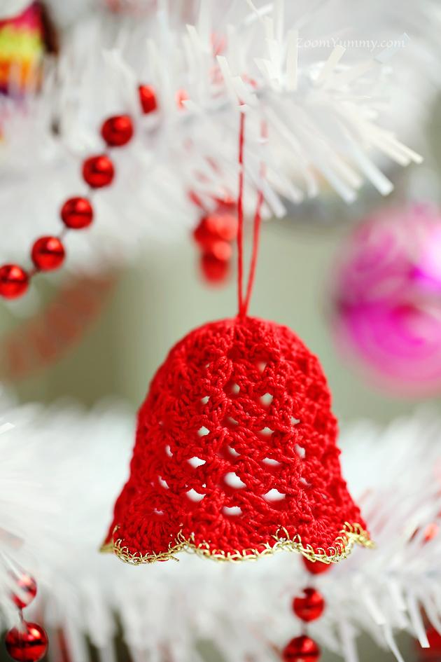 crochet Christmas tree ornaments bell