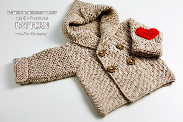 knitting pattern - knitted hooded baby jacket age 0-3 months