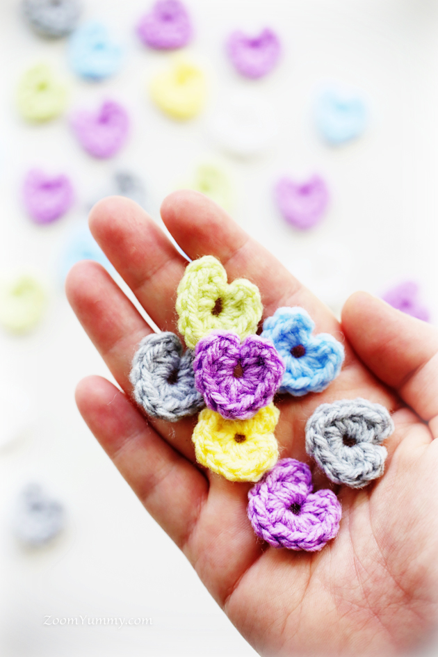 handful of crocheted hearts
