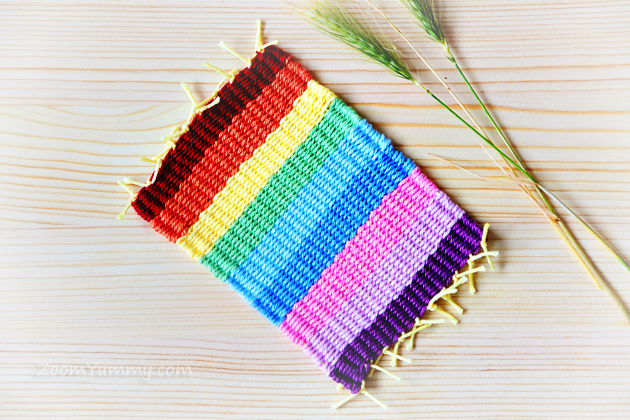 colorful woven coasters DIY